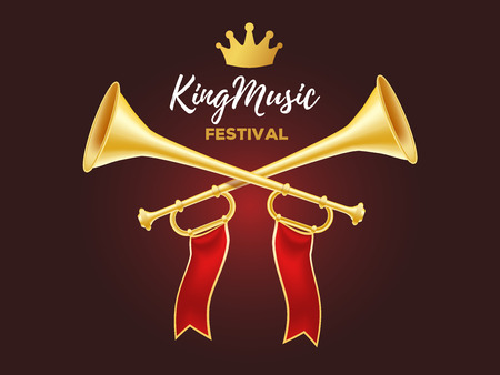Illustration pour 3d design of shiny golden metal horn. Realistic vector illustration of crossed trumpet with red ribbon, crown and text on dark background. Announcement of a music festival concept for web, site, banner - image libre de droit