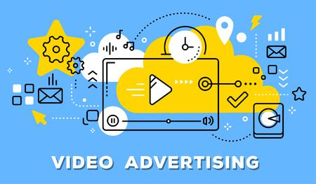 Ilustración de Vector illustration of video player, yellow cloud and icons. Video advertising concept on blue background with title. - Imagen libre de derechos