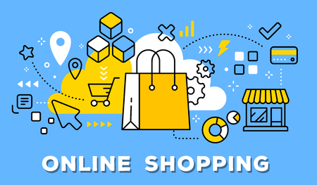 Illustration for Vector illustration of yellow shopping hand bag, store and icons. Online shopping concept on blue background with title. - Royalty Free Image