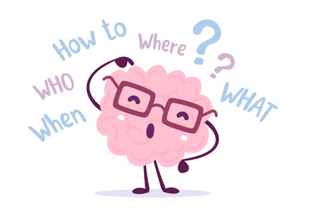 Ilustración de Illustration of pink color human brain character with glasses pointing its finger in the head. Seeking answer cartoon brain concept. Doodle style. Flat style design of character brain for training, education theme - Imagen libre de derechos