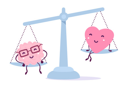 Illustration pour Illustration of pink color human brain with glasses and of a heart sitting on the scales on white background. The brain outweighs the heart concept. Cartoon style. Flat style design - image libre de droit