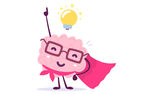 Ilustración de Vector illustration of pink color human brain with glasses as a super hero and light bulb on white background. Inspiration cartoon brain concept. Doodle style. Flat style design of character brain for training, education theme - Imagen libre de derechos