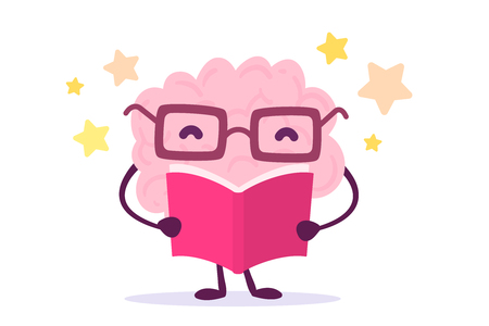 Ilustración de A Vector illustration of pink color brain character with glasses reading a book on white background with stars. Enjoyable education brain cartoon concept. Flat style design - Imagen libre de derechos