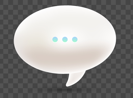Illustration pour Vector realistic illustration of 3d one white dialog speech bubble with three dots and shadow isolated on transparent background. - image libre de droit