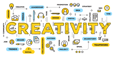 Illustration pour Vector creative illustration of creativity yellow word lettering typography with line icons and tag cloud on white background. Creative idea concept. Thin line art style design for business creative theme website banner - image libre de droit