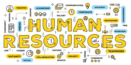 Ilustración de Vector creative illustration of human resources yellow word lettering typography with line icons and tag cloud on white background. Company human resources concept. Thin line art style design of hr business banner - Imagen libre de derechos