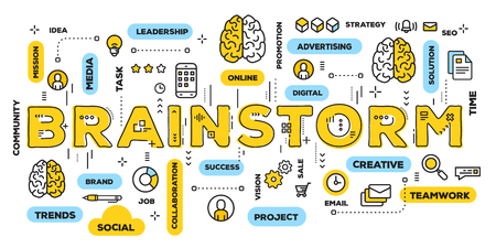 Illustration pour Vector creative illustration of brainstorm yellow word lettering typography with line icons and tag cloud on white background. Brainstorming concept. Thin line art style design for business web banner - image libre de droit