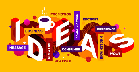 Ilustración de Vector creative abstract horizontal illustration of white 3d ideas word lettering typography. Creative idea concept with coffee cup, tag word on yellow color background. Isometric template design for business idea web, site, banner - Imagen libre de derechos