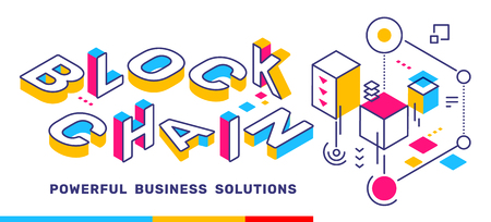 Illustration for Vector creative horizontal illustration of 3d word lettering typography with business title. Block chain colorful concept on white  background. Isometric template design for banner - Royalty Free Image