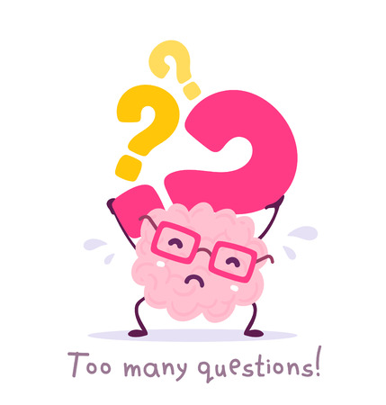 Illustration pour Vector illustration of pink color smile brain with glasses holding question mark on white background. Very strong cartoon brain concept. Doodle style. Flat style design of character brain for education theme - image libre de droit