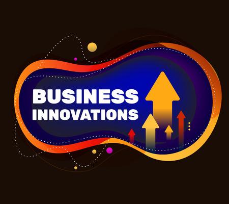 Ilustración de Business abstract bright colorful concept on black background with arrow. Vector creative illustration of business innovation project. Template design for banner, presentation - Imagen libre de derechos