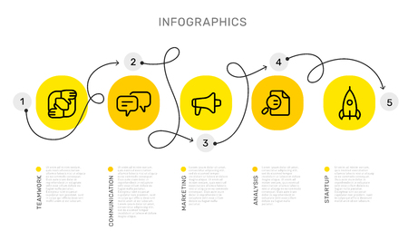 Ilustración de Vector infographic template with curl path with number options and steps, business yellow circle icons, words, text on white background. Line art style design for web, site, banner, presentation, report - Imagen libre de derechos