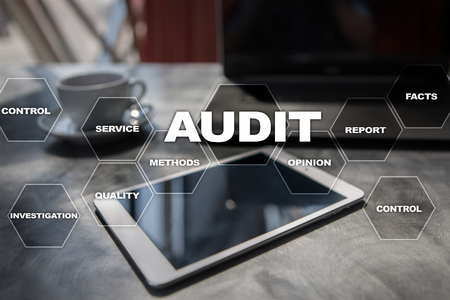 Photo for Audit business concept. Auditor. Compliance. Virtual screen technology. - Royalty Free Image