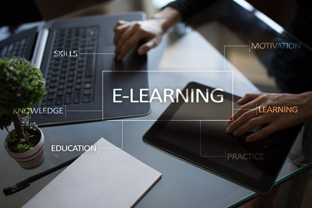 Photo for E-Learning on the virtual screen. Internet education concept. - Royalty Free Image
