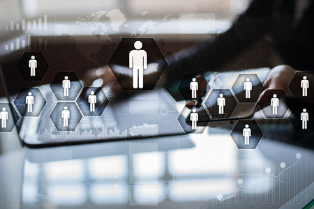 Photo for Human resource management, HR, recruitment, leadership and teambuilding. Business and technology concept. - Royalty Free Image