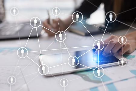 Photo pour Human resource management, HR, recruitment, leadership and teambuilding. Business and technology concept. - image libre de droit