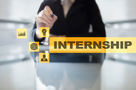 Photo for Internship text on virtual screen. Business, education and internet concept.? - Royalty Free Image