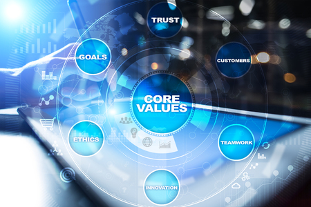 Photo pour Core values business and technology concept on the virtual screen. - image libre de droit