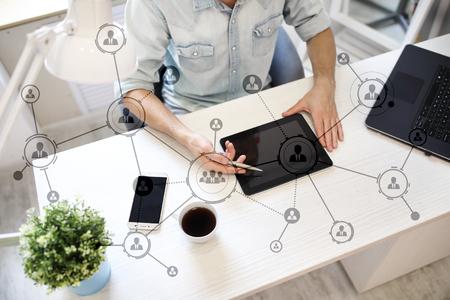 Photo pour Organisation structure. People's social network. Business and technology concept. - image libre de droit