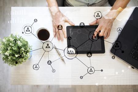 Photo pour People icons structure Social network. HR. Human resources management. Business internet and technology concept. - image libre de droit