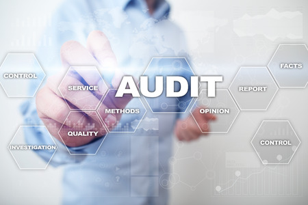 Foto de Audit business concept. Auditor. Compliance. Virtual screen technology. - Imagen libre de derechos