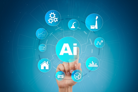 Photo pour AI, Artificial intelligence, machine learning, neural networks and modern technologies concepts. IOT and automation. - image libre de droit