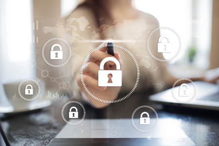 Photo pour Cyber security, Data protection, information safety and encryption. internet technology and business concept.  Virtual screen with padlock icons. - image libre de droit