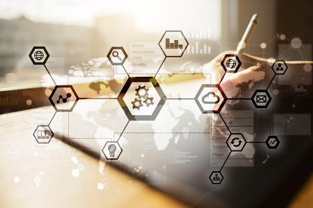 Foto de IOT, Automation, industry 4.0. Information technology in manufacturing concept. Smart factory. - Imagen libre de derechos