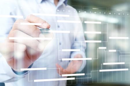 Foto de Project management chart on virtual screen. Schedule. Timeline. - Imagen libre de derechos