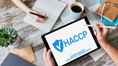 Photo pour HACCP - Hazard Analysis and Critical Control Point. Standard and certification, quality control management rules for food industry. - image libre de droit