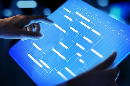 Foto de Project management diagram, time management, business and technology concept on virtual screen. - Imagen libre de derechos