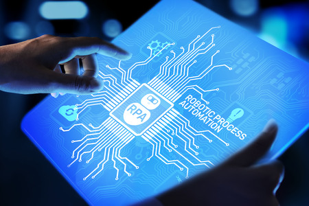 Foto de RPA Robotic process automation innovation technology concept on virtual screen. - Imagen libre de derechos
