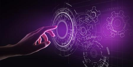 Foto de Copyspace, Blueprint, Drawing, Design, CAD on virtual screen. Background for Technology, Business, Industrial concept. - Imagen libre de derechos