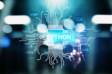Photo for Python high-level programing language. Application and web development concept on virtual screen. - Royalty Free Image