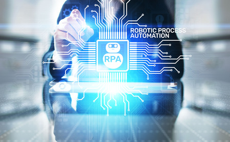 Foto de RPA Robotic process automation innovation technology concept on virtual screen. - Imagen libre de derechos