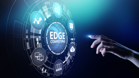 Photo pour Edge computing modern IT technology on virtual screen concept. - image libre de droit
