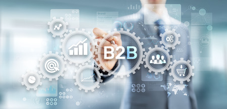 Photo for B2B Business to Business marketing strategy concept on virtual screen. - Royalty Free Image