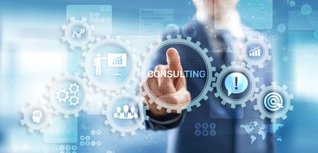 Foto de Business consulting concept on the virtual screen. - Imagen libre de derechos