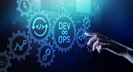 Foto de DevOps Agile development concept on virtual screen. - Imagen libre de derechos