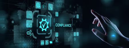 Foto de Compliance concept with icons and text. Regulations, law, standards, requirements, audit diagram on virtual screen. - Imagen libre de derechos