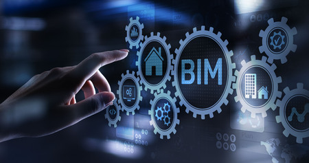 Photo pour BIM Building Information Modeling Technology concept on virtual screen - image libre de droit