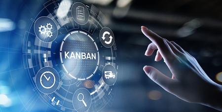 Foto de Kanban work flow process management system concept on virtual screen. - Imagen libre de derechos
