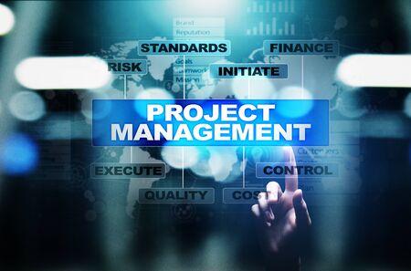 Foto de Project management diagram on virtual screen. Business, Finance and technology concept. - Imagen libre de derechos