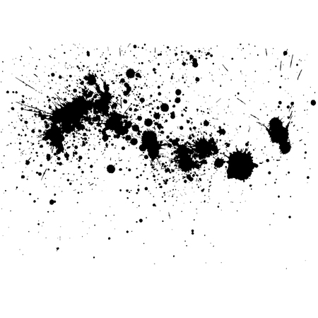 Illustration pour Black ink splatter background, isolated on white. All elements are not grouped. Vector illustration. - image libre de droit
