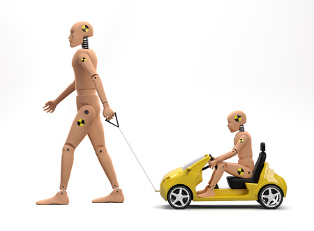 Photo pour Adult Male Crash Test Dummy with Child Dummy - image libre de droit