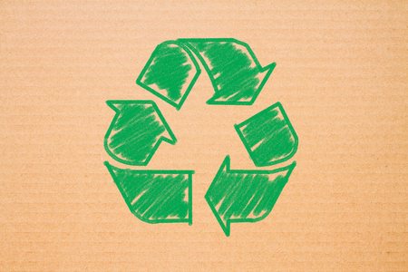 Photo for logo recycle on brown paper background - Royalty Free Image