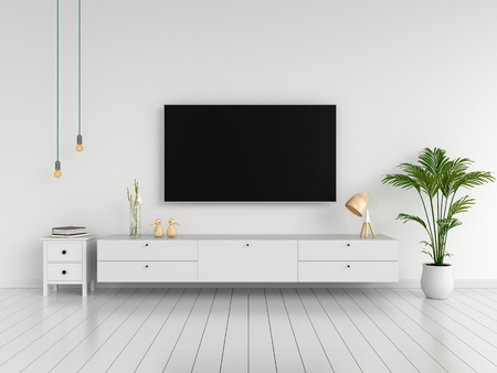 Photo pour Widescreen TV and sideboard in living room, 3D rendering - image libre de droit