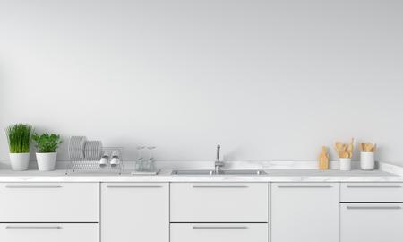 Foto de Modern white kitchen countertop with sink, 3D rendering - Imagen libre de derechos