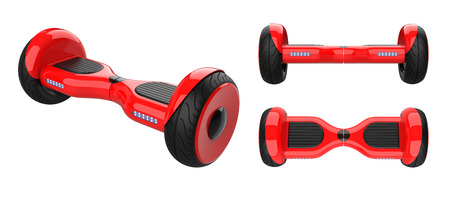 Photo pour Three view of red Self Balancing Scooters. Kit set of Dual Wheel Hoverboard Electric Skateboard Smart Mini Scooter. 3d rendering of self-balancing board, isolated on white background. - image libre de droit