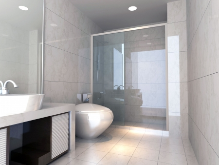 modern design interior of stylish bathroom. 3D render